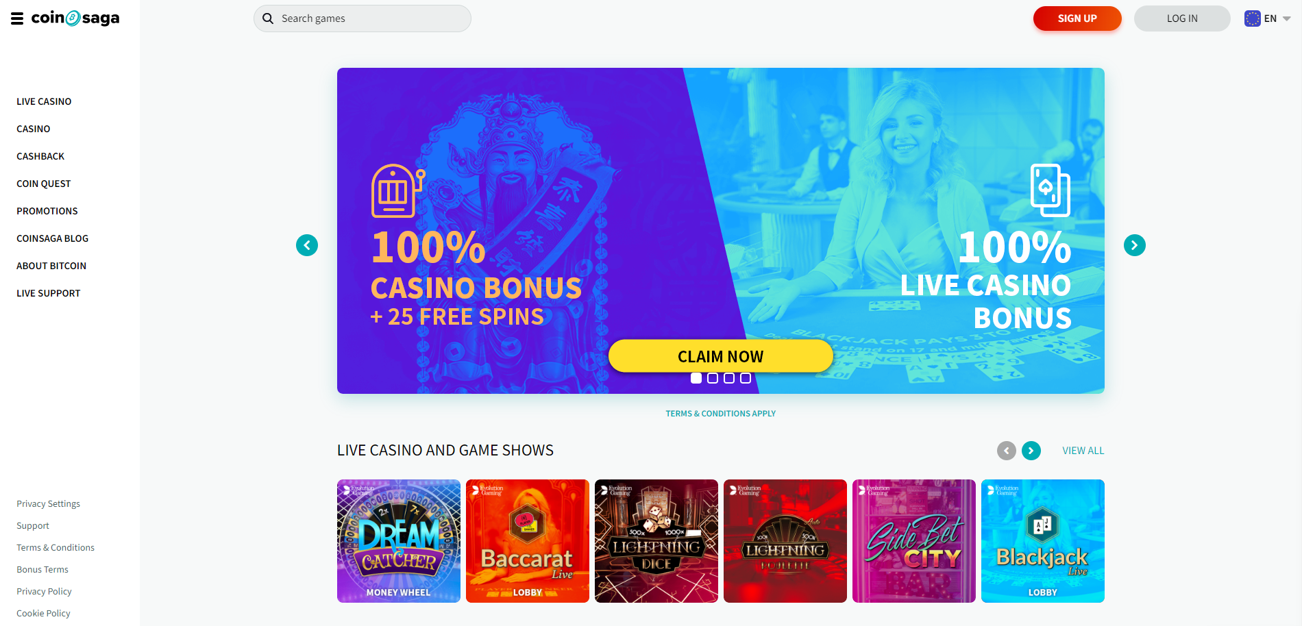 CoinSaga.com – A New Bitcoin Casino